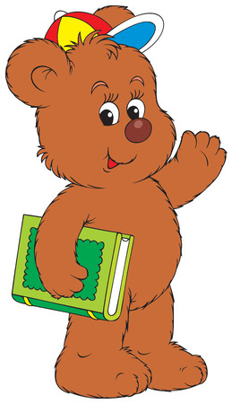 Funny Bear holding the green book Vector