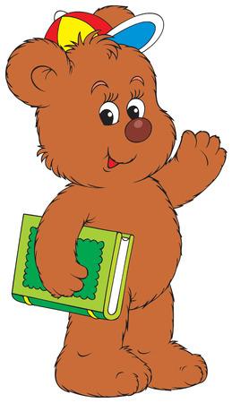 bear cub: Funny Bear holding the green book
