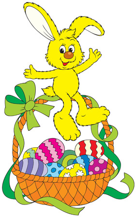 cartoon easter: Easter bunny sitting on a basket