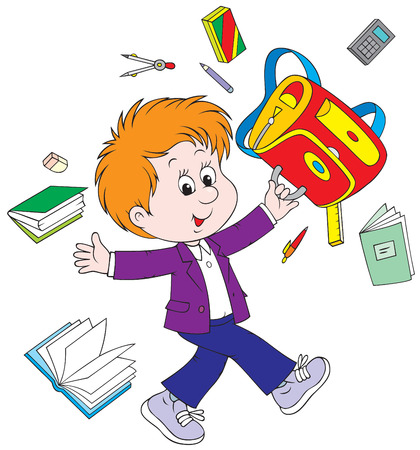 schooldays: Schoolboy after lessons Illustration