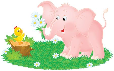 Pink elephant and little chick Stock Photo - 4194806
