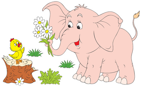 farm animal cartoon: Pink elephant and little chick