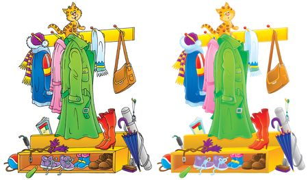 Garderobenständer clipart  Funny Kitten Sitting On A Coat Rack Stock Photo, Picture And ...