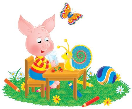 Piglet, snail and butterfly Stock Photo - 4353070