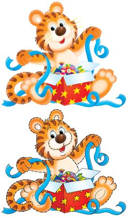 festively: Tiger cub with gift Stock Photo