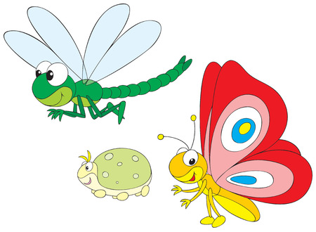 Dragonfly, greenfly and butterfly Illustration