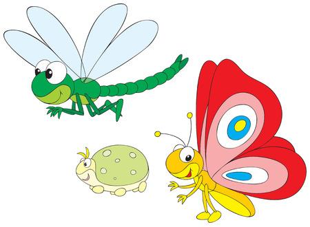 mariposa caricatura: Lib�lulas, mariposas y greenfly