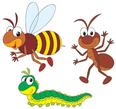 ver de terre cartoon: Bee, fourmis et chenilles Illustration