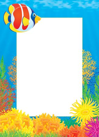 Photo frame with Coral Fish Stock Photo