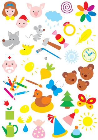 Simple objects for kindergarten Illustration