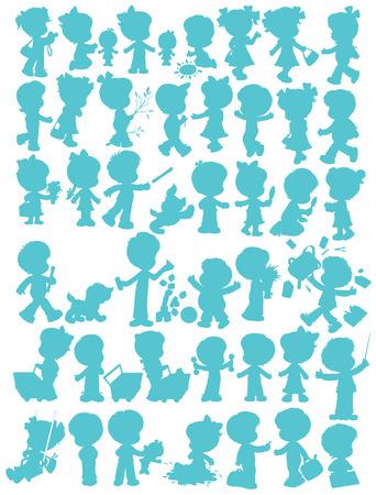 boyish: Children�s silhouettes