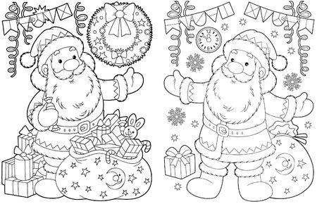 Santa Claus y los regalos de Navidad Foto de archivo