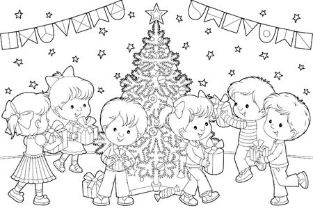 Children with Christmas gifts Stock Photo - 4909817