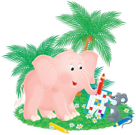 kiddish: Pink elephant and grey mouse solve a crossword Stock Photo