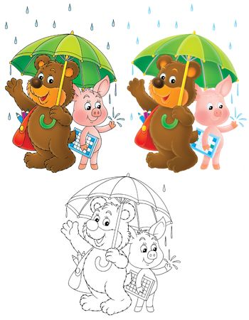 drizzling rain: Bear and Piglet under the green umbrella