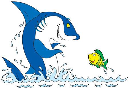 Shark and fish Stock Vector - 5098867