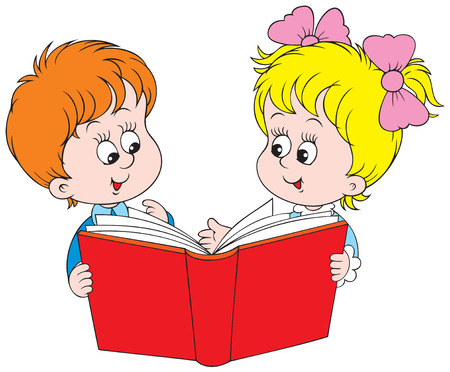 child of school age: Girl and boy reading the red book Illustration