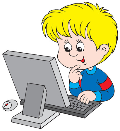 child of school age: Boy with computer