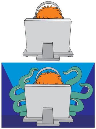 Computer gamer Vector