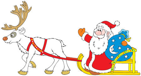 christmastide: Santa Claus driving in the sleigh with Reindeer