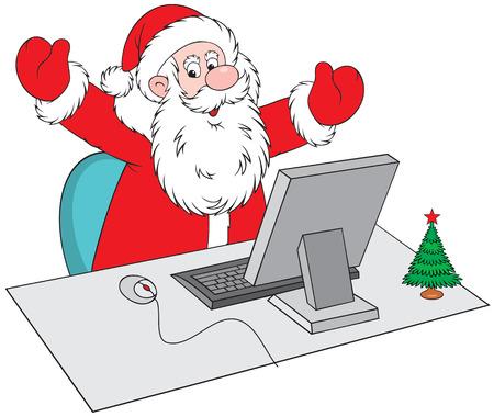 Santa Claus sentado en una mesa delante de un ordenador