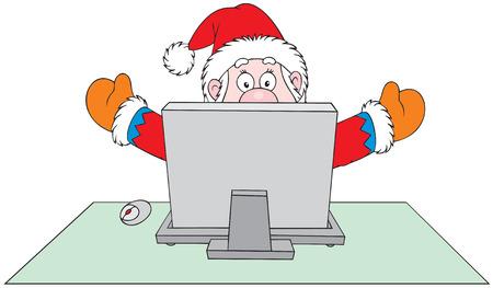 Santa Claus with computer Stock Vector - 5468263