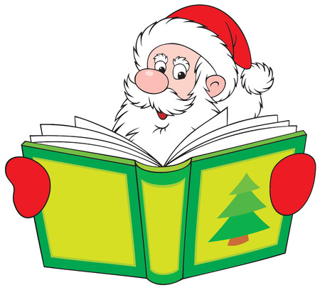 Santa Claus reading the book