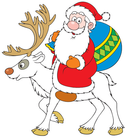 christmastide: Santa Claus riding on Reindeer Illustration