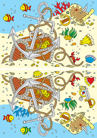 Anchor and treasure chest (find all differences) Vector