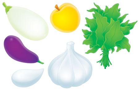 sorrel: Eggplant, vegetable marrow, garlic, apricot and sorrel