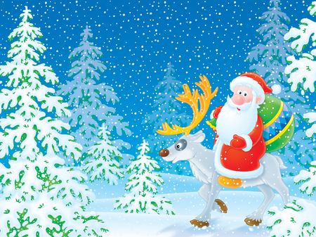 newyear night: Santa Claus riding on the reindeer in the winter forest