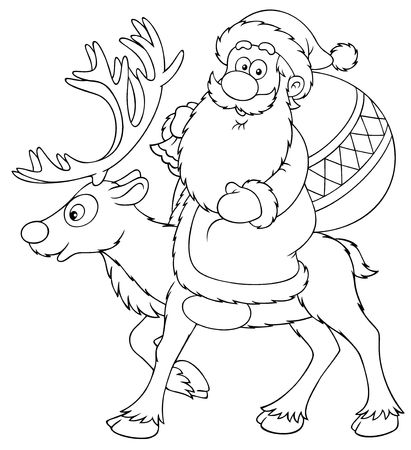 newyear night: Santa Claus riding on the reindeer (black and white drawing)