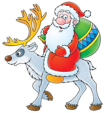 cartoon santa clause: Santa Claus riding on the reindeer