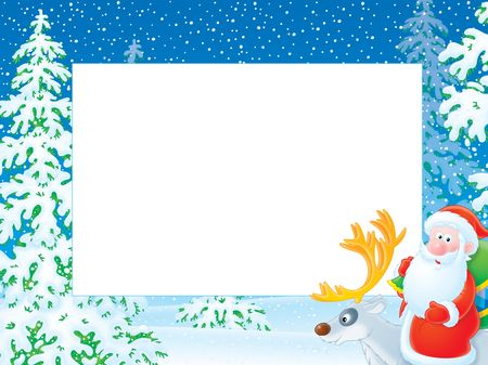 newyear night: Christmas frame with Santa Claus riding on reindeer in winter forest