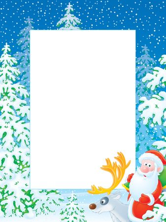 animal border: Christmas frame with Santa Claus riding on reindeer in winter forest