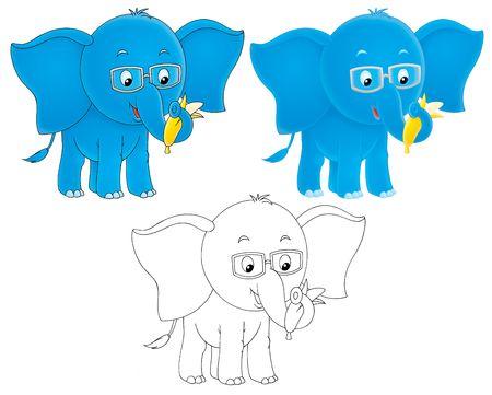 shortsighted: Blue elephant wearing eye-glasses Stock Photo