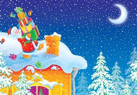 Santa Claus with Christmas gifts goes to chimney on housetop Stock Photo - 5760829