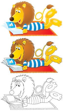 tabloid: Lion lays on carpet and reads illustrated magazine Stock Photo
