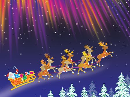 newyear night: Santa drives sledge with reindeers across night sky
