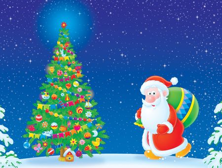 grandfather frost: Santa Claus and Christmas tree