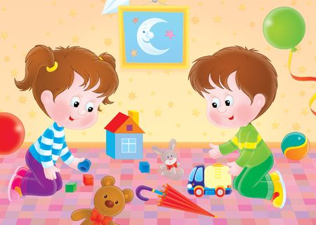 puerile: girl and boy plays with toys in nursery