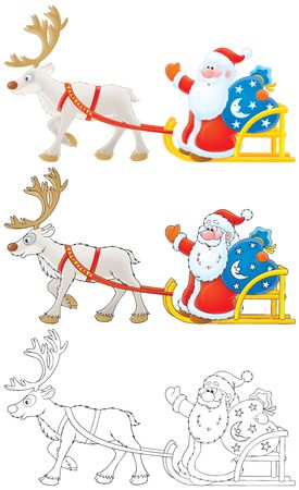 Santa Claus drives in sleigh with reindeer