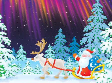 Santa drives in a sledge with reindeer Stock Photo - 5844935