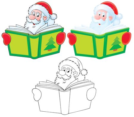 christmastime: Santa Claus reads a book