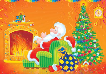 cartoon fireplace: Santa Claus sits by the fire LANG_EVOIMAGES