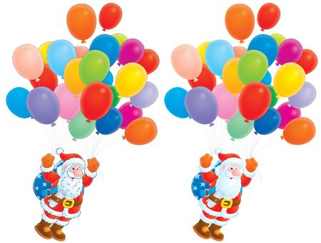 Santa Claus flying with multicolor balloons Stock Photo - 5906043
