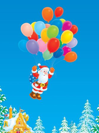 Santa Claus flying with multicolor balloons Stock Photo - 5898946