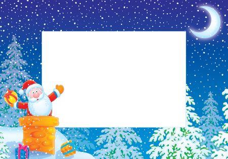 cartoon santa clause: Christmas photo frame  border with Santa Claus