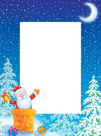 Christmas photo frame  border with Santa Claus  photo