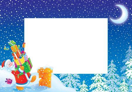 Christmas photo frame / border with Santa Claus Stock Photo - 5919229
